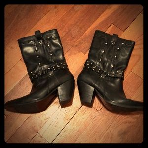 Cowboy Boots Black Leather Studded